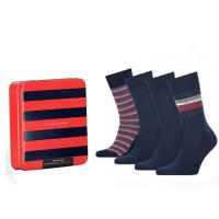Tommy Hilfiger Heren Sokken Tin Giftbox Navy 4-Pack