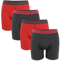 Vinnie-G boxershorts Flamingo Rood - Antraciet 4-Pack