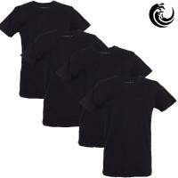 Vinnie-G Heren T-shirt Ronde hals Zwart 4-pack