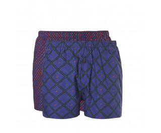 Ten Cate Woven Boxer Check Navy/Diamond-Blue 2-pack