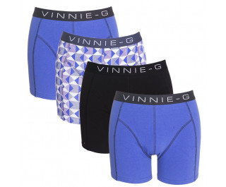 Vinnie-G boxershorts Royal Blue-Print-Black 4-pack