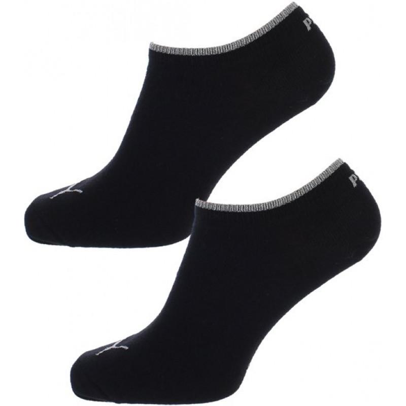 Puma Dames Sneaker Sokken Zwart Zilver 2 pack
