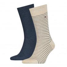 Tommy Hilfiger Men Small Stripe Sock Beige Melange 2-Pack