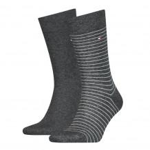 Tommy Hilfiger Men Small Stripe Sock Antraciet 2-Pack