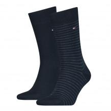 Tommy Hilfiger Men Small Stripe Sock Dark Navy 2-Pack