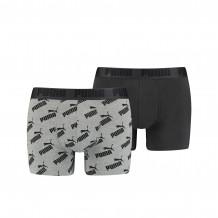 Puma Boxershorts AOP 2-pack Dark Grey Melange