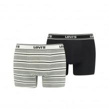 Levi's Men Sporty Stripe Boxer Brief 2-Pack Grey/ Melange/Black