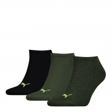 Puma sokken sneaker plain Black / Green 3-pack