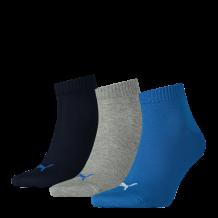 Puma sokken halfhoog 3-Pack blauw-donkerblauw-grijs melange