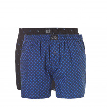 Ten Cate Woven Boxershorts 2-Pack Blue Dots/Black Square