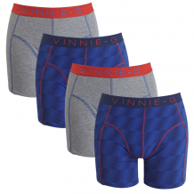 Vinnie-G boxershorts Flame Blue Print Grey 4-pack