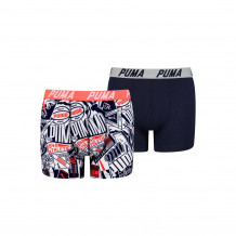 Puma Boys AOP Boxershorts Navy/Red 2-pack