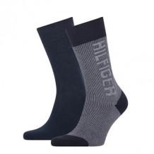 Tommy Hilfiger Sokken Seasonal Rib Logo Navy 2-Pack