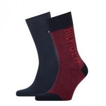 Tommy Hilfiger Sokken Seasonal Rib Logo Navy Red 2-Pack