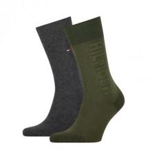 Tommy Hilfiger Sokken Seasonal Rib Logo Olive 2-Pack