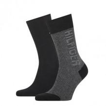Tommy Hilfiger Sokken Seasonal Rib Logo Black 2-Pack