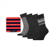 Tommy HilfIger Men Sokken Tin Giftbox Black 4-Pack