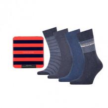 Tommy HilfIger Men Sokken Tin Giftbox Jeans 4-Pack