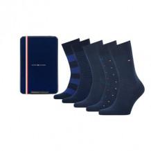 Tommy HilfIger Men Sokken Tin Giftbox Navy 5-Pack