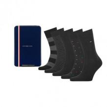 Tommy HilfIger Men Sokken Tin Giftbox Black 5-Pack