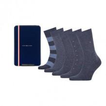 Tommy HilfIger Men Sokken Tin Giftbox Jeans 5-Pack