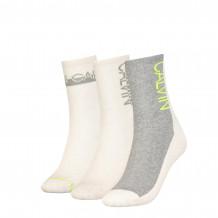 Calvin Klein sokken dames sock 3-pack oatmeal