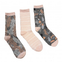 Apollo Dames Sokken Grijs/Zalmroze 3-pack maat 35-42