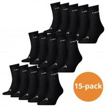 Head Short Crew sokken 15-pack Zwart