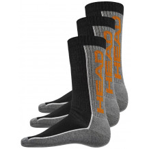 HEAD Stripe Performance Crew 3-pack grey/black