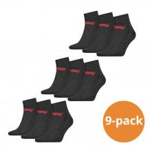 Levi's Quarter Sokken 9-pack Batwing Logo Antraciet