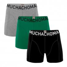 Muchachomalo boksershorts Solid Black/Green/Grey Melange 3-pack