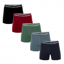 Muchachomalo Boxershorts Solid Navy Grey/Blue/Army Red/Black 5-pack