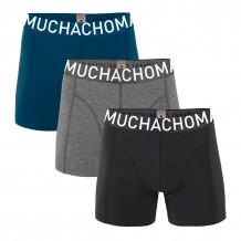 Muchachomalo Boxershorts Solid Black/Grey Melange/Blue