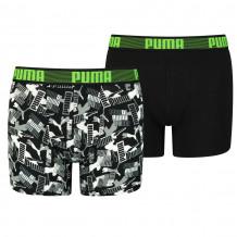 Puma Boys Boxershorts Logo AOP Green Combo 2-Pack