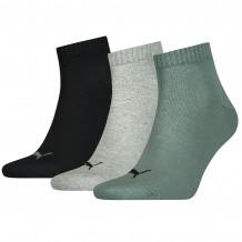 Puma Quarter sokken Unisex  Plain Balsam Green/ Grey Melange Black 3-Pack