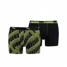 Puma basic boxer AOP black/grey/green 2-pack