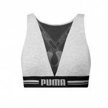 Puma Dames High Neck Bra met Mesh Grijs