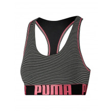 bbe79602d9e Puma Dames Yarn Dyed Mini Stripe Racer Back Bra Zwart/Roze