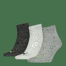 Puma Quarter Sokken Unisex Plain Green Flash/Black/Grey Melange 3-Pack