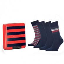 Tommy HilfIger Men Sokken Tin Giftbox Navy 4-Pack