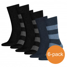 Tommy Hilfiger Sokken Heren 6-pack Rugby Black/Dark Navy/Jeans