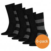 Tommy Hilfiger Sokken Heren 6-pack Rugby Black