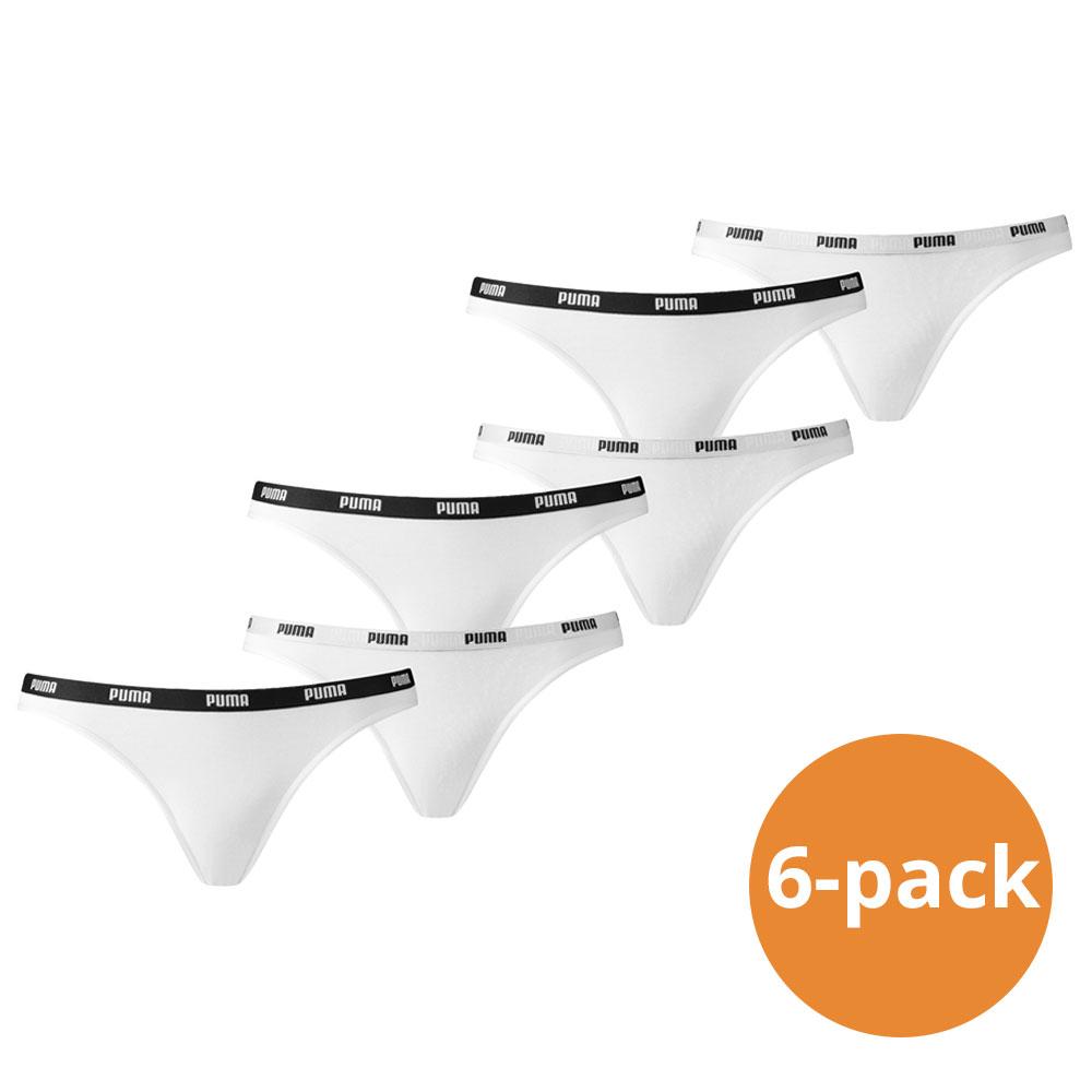 Puma Bikini Slip Dames Wit 6 Pack XS